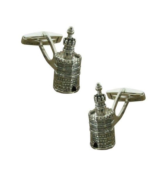 Sterling Silver Tower of Gold Cufflinks