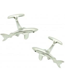 Gemelos para camisa tiburón plateado
