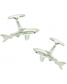Silver Plated Shark Cufflinks