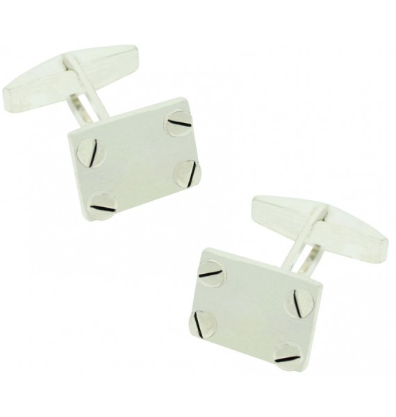Sterling Silver Rectagle with Screws Cufflinks