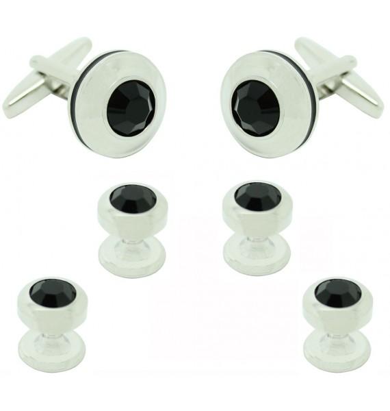 Gemelos para camisa y Botones de Esmoquin Redondo Piedra Negra