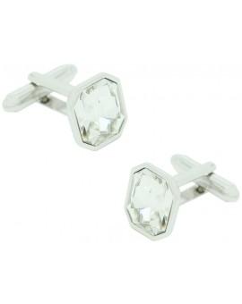 Gemelos Octógono Crystal Gemstone Blanco
