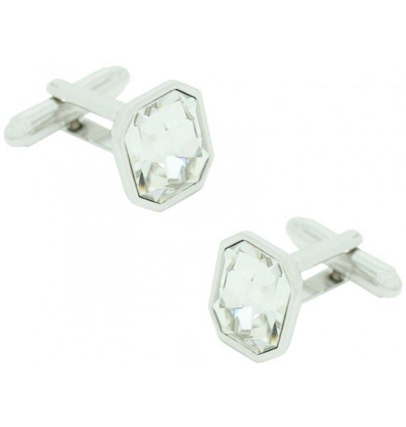 White Swarovski Octagon Cufflinks