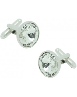 White Swarovski Circle Cufflinks