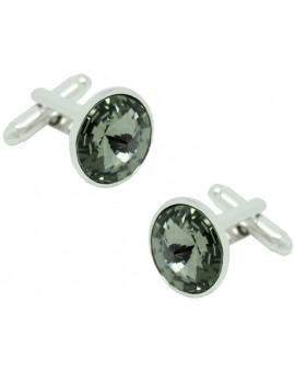 Grey Swarovski Circle Cufflinks