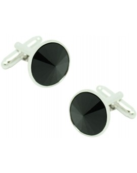 Gemelos Círculo Crystal Gemstone Negro