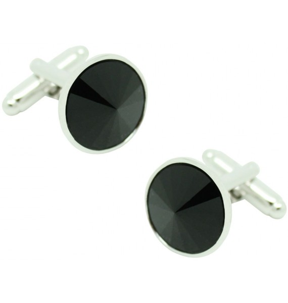 Black Swarovski Circle Cufflinks