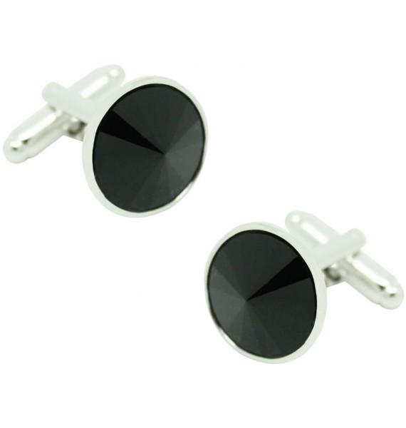 Gemelos para camisa Círculo Swarovski Negro