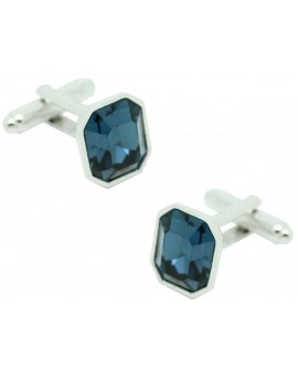 Blue Swarovski Octagon Cufflinks