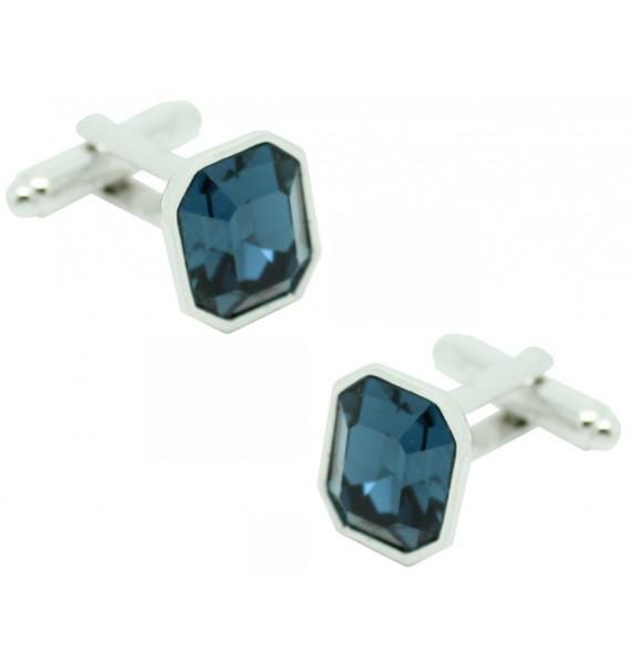 Blue Swarovski Octagon Cufflinks