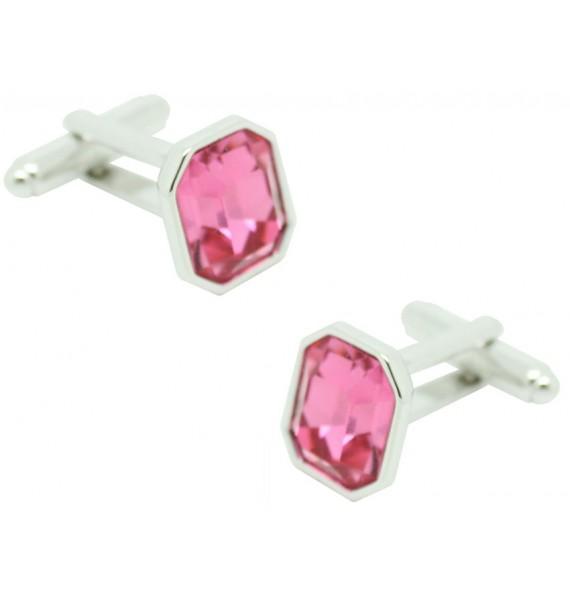 Pink Swarovski Octagon Cufflinks