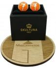 Gemelos personalizado Skultuna Número 7 naranja para camisa