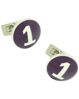 Silver Racer Skultuna Cufflinks - Purple