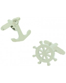 Boat Wheel and Anchor Cufflinks