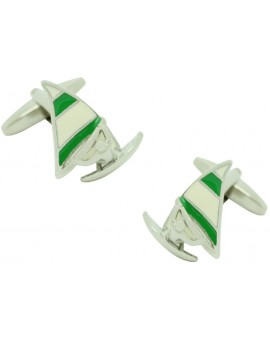 Green Sail Windsurf Cufflinks