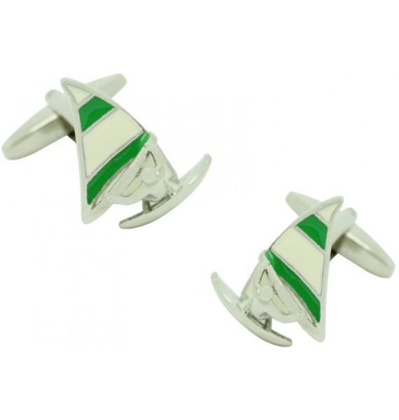 Green Sail Windsurf Cufflinks