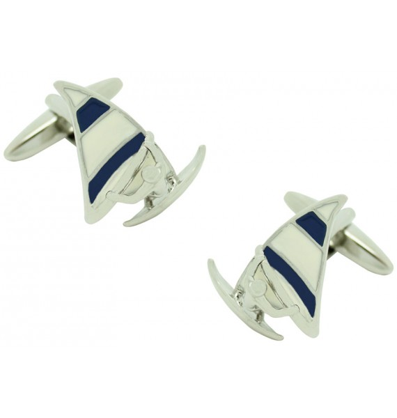 Blue Sail Windsurf Cufflinks