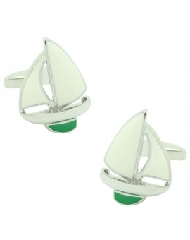 Green Sailboat Cufflinks