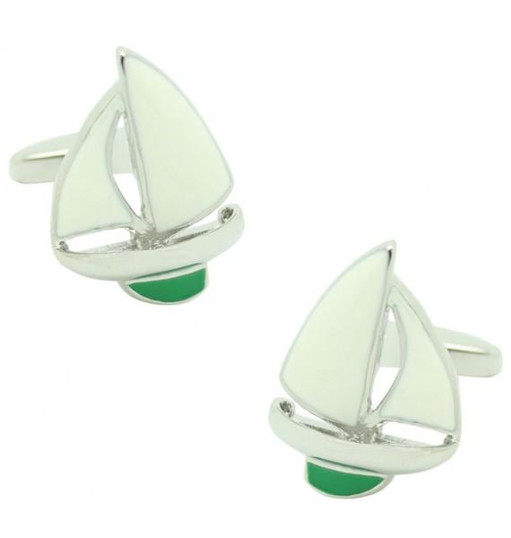 Green Sailboat Cufflinks