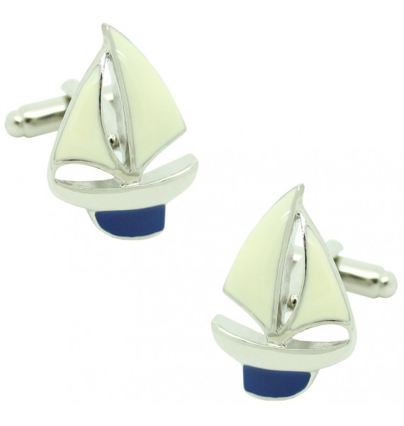 Navy Blue Sailboat Cufflinks