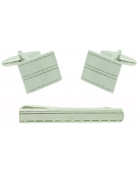 Rectangles Cufflinks and Tie Bar