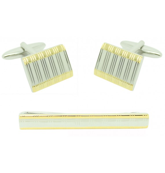 Striped Cufflinks and Tie Bar