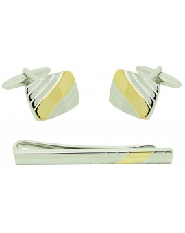 Curve Lines Cufflinks and Tie Bar
