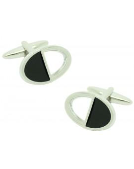 Gemelos para camisa ovalados negros y plata