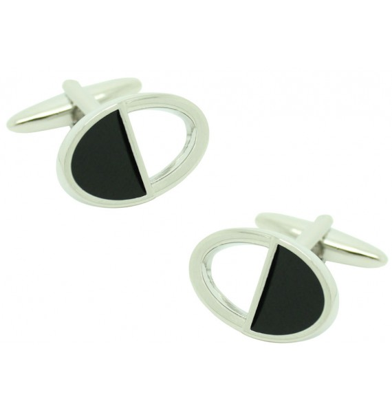 Black and Silver Oval Cufflinks