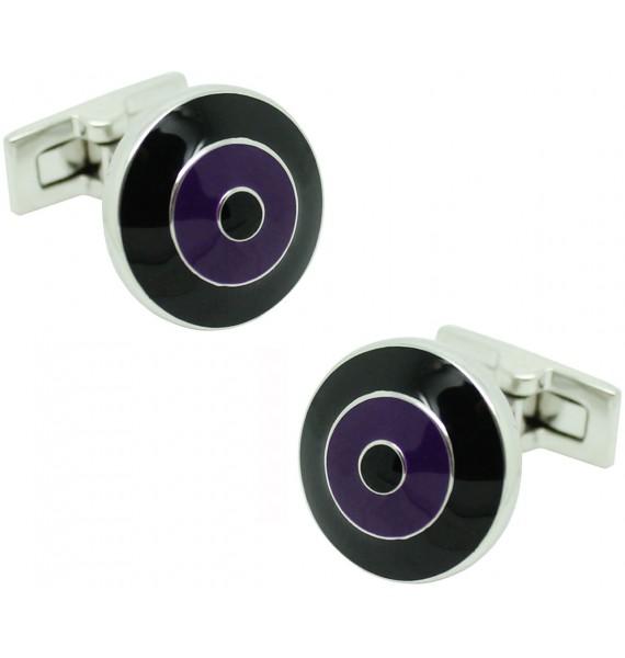 Black and Purple Bomber V.2 Skultuna Cufflinks