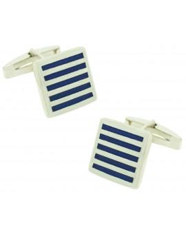 Gemelos para camisa Cuadrado Rayas Azul Plata 925