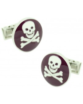 Purple Skull and Bones Skultuna Cufflinks
