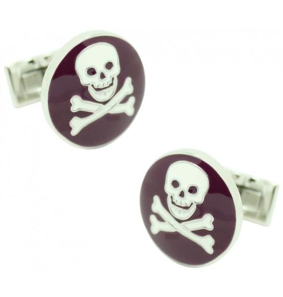 Purple Skull and Bones Skultuna Cufflinks