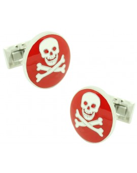 Skull and Bones Skultuna Cufflinks - Red