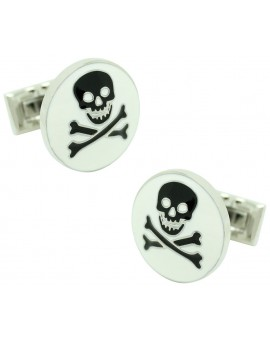 White Skull and Bones Skultuna Cufflinks