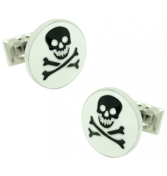 White Skull and Bones Skultuna Cufflinks
