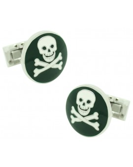 Green Skull and Bones Skultuna Cufflinks