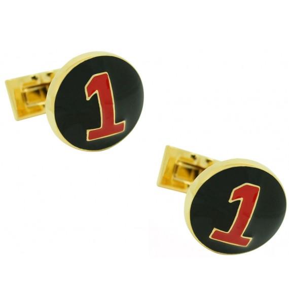 Gemelos para camisa Skultuna Racer Dorado - Negro