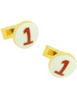 Golden Racer Skultuna Cufflinks - White