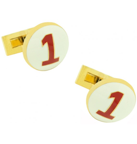 Golden Racer Skultuna Cufflinks White and Red