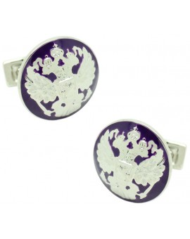 Silver Double Eagle Skultuna Cufflinks - Purple