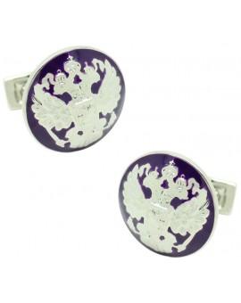 Silver Double Eagle Skultuna Cufflinks - Purple