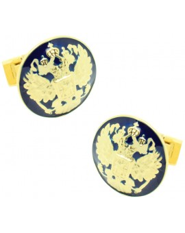 Golden Double Eagle Skultuna Cufflinks - Blue
