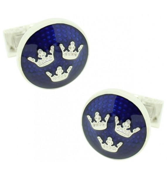 gemelos para camisa Skultuna tres coronas plateado Azul
