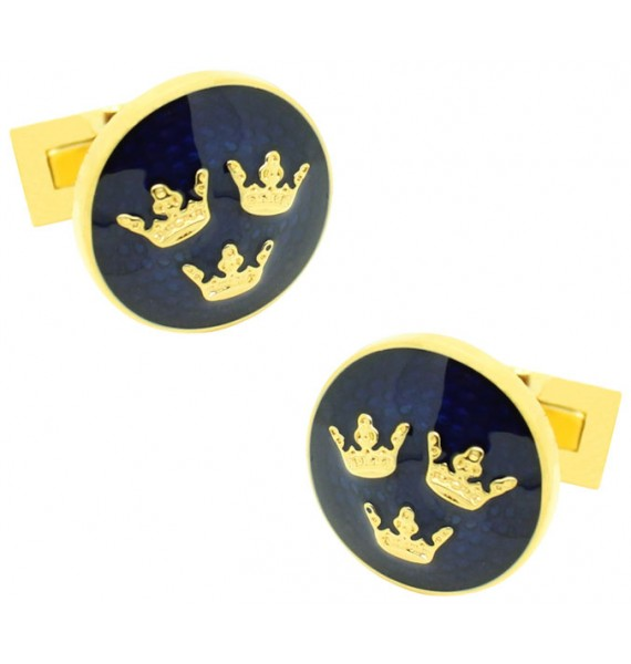 Golden Three Crowns Skultuna Cufflinks