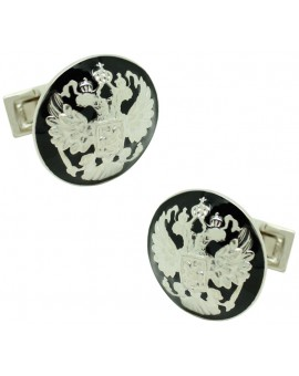 Silver Double Eagle Skultuna Cufflinks - Black