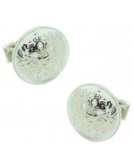 Silver Double Eagle Skultuna Cufflinks - White