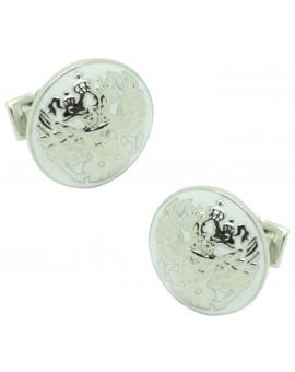 Silver Double Eagle Skultuna Cufflinks - White
