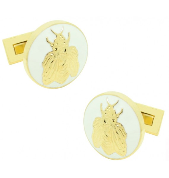 Gold and White Napoleón Bee Skultuna Cufflinks