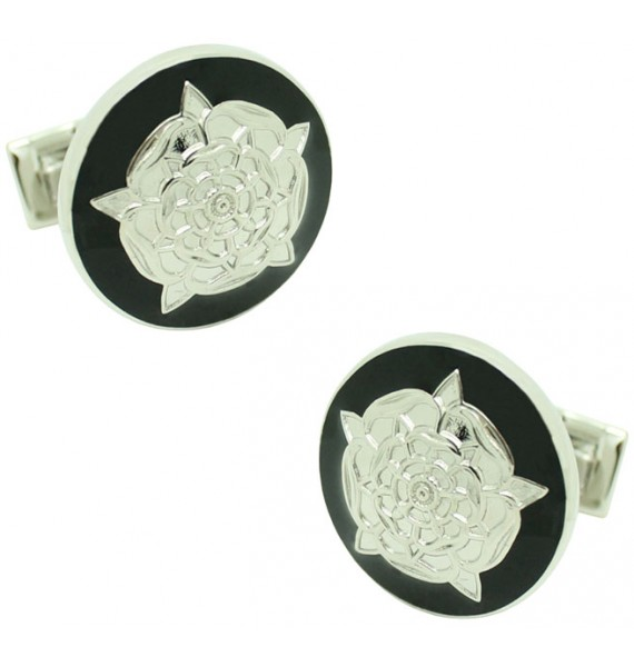 Tudor Rose Skultuna Cufflinks - Black